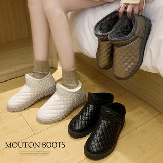 ◇ムートンブーツ ショートブーツ ムートン 靴 裏起毛 ボア ファー 暖かい(ブーツ)
