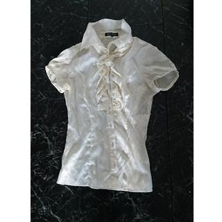 ミッシュマッシュ(MISCH MASCH)のシャツ.白.ボーダー.size38.(Tシャツ(半袖/袖なし))