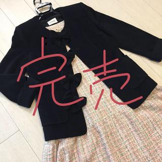 INGEBORG - INGEBORG リボン コート ジャケット 黒 アンゴラ ピンクハウス