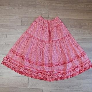 PINK HOUSE - ピンクハウス ギンガムチェックワッペン付きスカート 赤