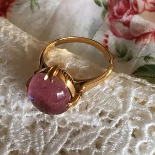 18金ビンテージリン  PT石  ピンクの天然石