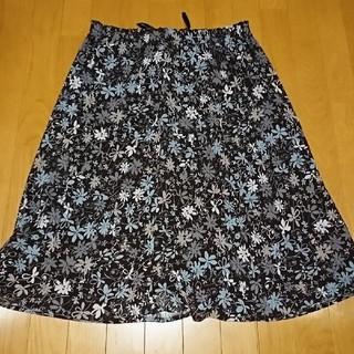 3L レディース ロングスカート 花柄 ブラウン(ロングスカート)