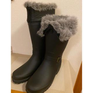 未使用 黒 ブラック ファー レインブーツ 長靴(レインブーツ/長靴)