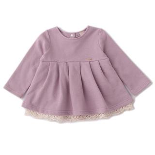 プティマイン(petit main)の新品♡プティマイン  120 裏起毛 裾コットンレースチュニック(Tシャツ/カットソー)