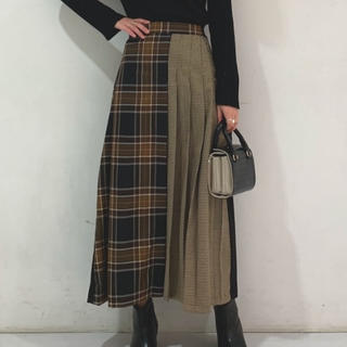 mystic - チェックプリーツラップスカート