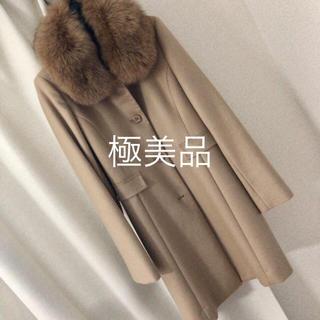 バーニーズニューヨーク(BARNEYS NEW YORK)のI'hiver カシミア100ブルーフォックス襟コート(ロングコート)