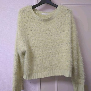 ジーユー(GU)のGU フワフワラメ入りセーター ライトグリーン XL(ニット/セーター)