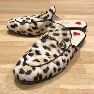 Gucci - 超美品 グッチ ハラコ スリッパ バブーシュ 靴 レオパード 柄 36