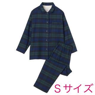 MUJI (無印良品) - 無印良品『脇に縫い目のないフランネルパジャマ(ダークネイビー Sサイズ)』