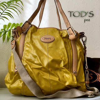 TOD'S - TOD'S トッズ 約12万 2way 大容量 エナメルレザートートバッグ 鞄