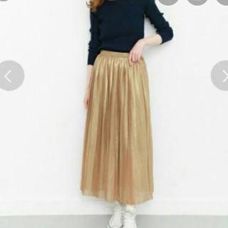 ケービーエフ(KBF)のKBF メタリックプリーツスカート ゴールド フリーサイズ(ロングスカート)