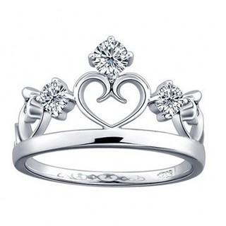 ※即日発送☞婚約指輪ギフト♥ジルコニア※クラウンリング★指輪シルバー925(リング(指輪))