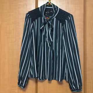 黒ストライプシャツ(シャツ/ブラウス(長袖/七分))