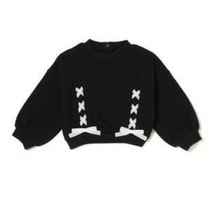 プティマイン(petit main)のブラックリボンスウェット 90㎝(Tシャツ/カットソー)