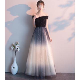 オフショルダー パーティー 結婚式 イブニングドレス 発表会 演出 キラキラ(ロングドレス)