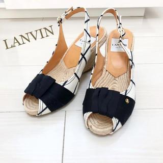LANVIN en Bleu - 美品!ランバン 23.0 本革 ブラック リボン サンダル ウェッジ
