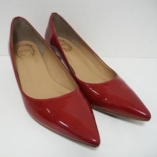 オリエンタルトラフィック(ORiental TRaffic)の百貨店購入 赤 ローヒールパンプス 23.5(ハイヒール/パンプス)