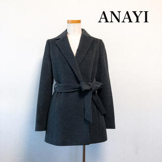アナイ(ANAYI)のANAYI アナイ コート アンゴラ混 グレー 38号 冬 上品素敵♡(ロングコート)