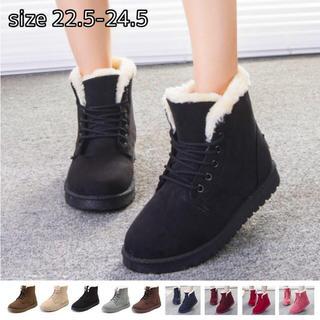 ♥ ムートンブーツ 美脚 脚長 ショートブーツ 保温 フラット歩きやすい(ブーツ)