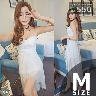 キャバドレス 104B 白 ホワイト ミニ テールカット ベアトップ S-M-L(ミニドレス)