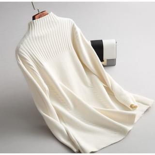 新品上質ミンクカシミヤAラインケーブル編みニットプルオーバー ホワイト M(ニット/セーター)