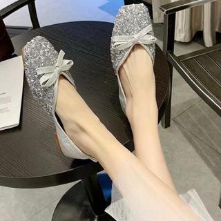 キラキラぺたんこシューズ パンプス フラットシューズ ローヒール ペタンコ靴(バレエシューズ)