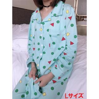 送料無料 Lサイズ クレヨンしんちゃん パジャマ 3点セット グリーン(パジャマ)
