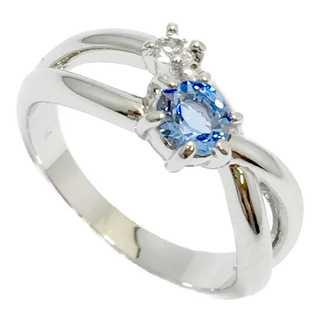 クリスタルをオフセット ピンキーリング シルバー925 ブルー 指輪(リング(指輪))