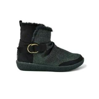 フェリシモ(FELISSIMO)のがっしりソールで歩きやすさ抜群 ぬくぬくツイードショートブーツ(ブラック)M(ブーツ)
