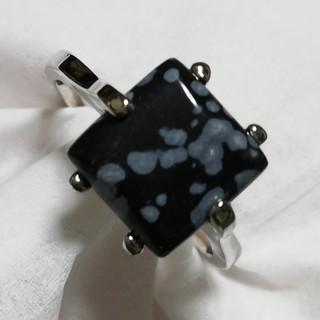 天然石 スノーフレークオブシディアン シルバー 22号 ユニセックス(リング(指輪))