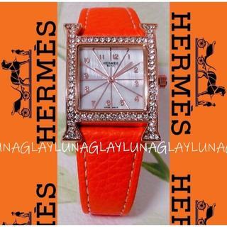 Hermes - エルメス 新品 Hermès Hウォッチ 腕時計 オレンジ レディース
