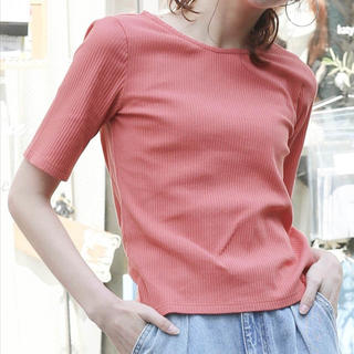 クリア(clear)の新品 clear トップス カットソー ピンク リブ 半袖 クリア Tシャツ(Tシャツ(半袖/袖なし))