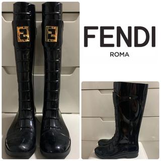 フェンディ(FENDI)のFENDI ブラック アイコンレインブーツ(レインブーツ/長靴)