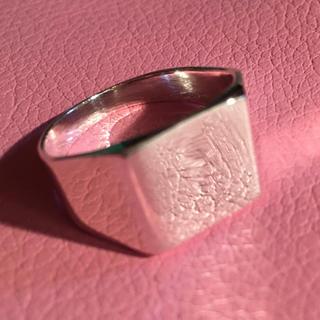 印台 シルバー925 リング 21号 スクエア 銀 指輪 ハンコ 四角 ギフト(リング(指輪))