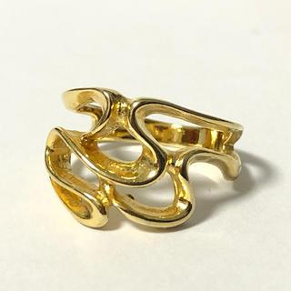 1807 ゴールドリング うねりデザイン 925 8号(リング(指輪))