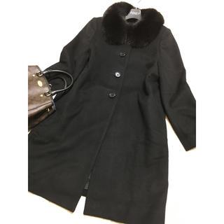 アナイ(ANAYI)の美品 ANAYI フォックス ファー コート ブラック カシミヤ アナイ 黒(ロングコート)