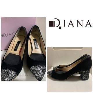 DIANA - ダイアナ ブラックスエード  グリッターパンプス