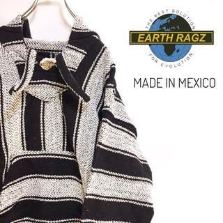 古着 アースラグズ メキシカンパーカー ストライプ モノトーン メキシコ製(パーカー)