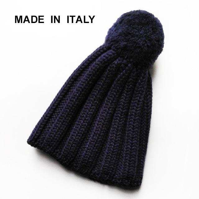 JOURNAL STANDARD(ジャーナルスタンダード)の美品 イタリア製✨ウール100% ニット帽 ビーニー ポンポン付き ネイビー レディースの帽子(ニット帽/ビーニー)の商品写真