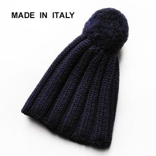 ジャーナルスタンダード(JOURNAL STANDARD)の美品 イタリア製✨ウール100% ニット帽 ビーニー ポンポン付き ネイビー(ニット帽/ビーニー)