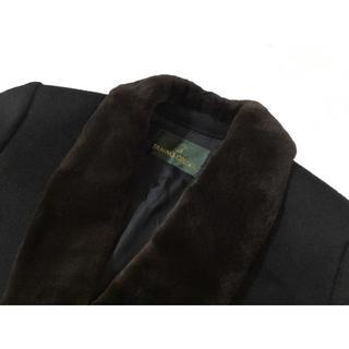 タニノクリスチー(TANINO CRISCI)のタニノクリスチーTANINOCRISCIカシミアロングコート襟毛皮ファー付きL黒(毛皮/ファーコート)