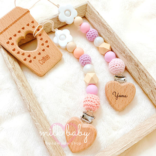 milkycolor♡ハートクリップ歯固めホルダー 名入れ無料 歯固めジュエリー(外出用品)