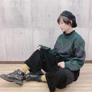 【VINTAGE】1点もの!美品!グリーン ウール 個性派 古着 ニット(ニット/セーター)