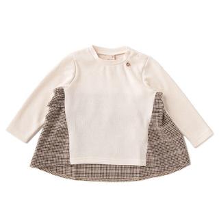 プティマイン(petit main)のpetit main チェックフリルTシャツ オフホワイト 110(Tシャツ/カットソー)