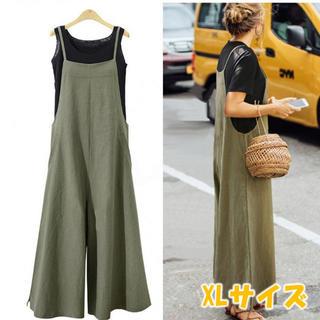 サロペット ワイドパンツ パンツスカート パンツ ガウチョ カーキ XLサイズ(サロペット/オーバーオール)