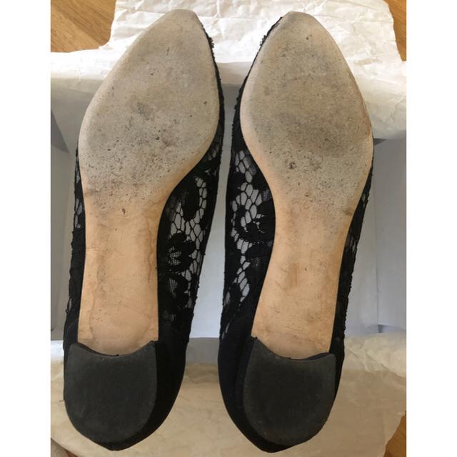 MANOLO BLAHNIK(マノロブラニク)の美品!マノロブラニク ブラック フラット レース 38 レディースの靴/シューズ(バレエシューズ)の商品写真