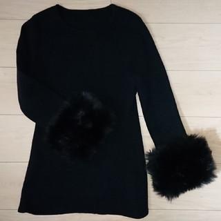 美品BIRTHDAY BASH サイズS 黒袖ファー付ニット3回着用(ニット/セーター)