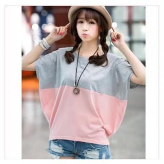 再入荷。新品!Tシャツ グレー ピンク バイカラー カットソ- 丸首 M(Tシャツ(半袖/袖なし))