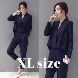 レディース パンツ スーツ ドレス オールインワン 風 ネイビー XLサイズ(スーツ)