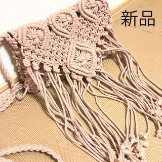 しまむら - しまむら ショルダー フリンジ マクラメ編み ピンク